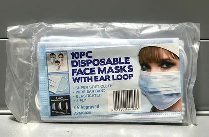 Disposable Protective Face Masks - Pack of 10
