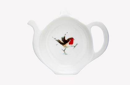 Jane Abbott Winter Robin Tea Tidy Holder
