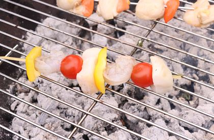 Monkfish and Prawn Kebabs