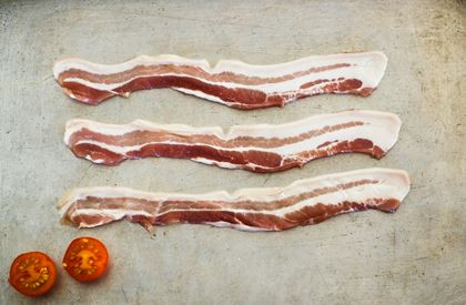 Streaky bacon slices
