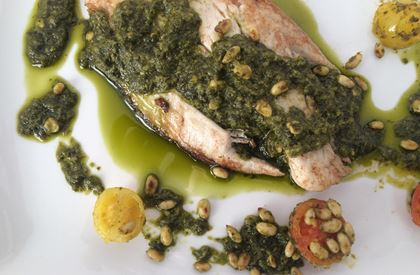 Sea Bass with Pesto Dressing