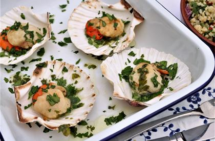Lemony Barbecued Scallops