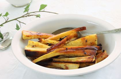Maple Syrup and Mustard Roast Parsnips