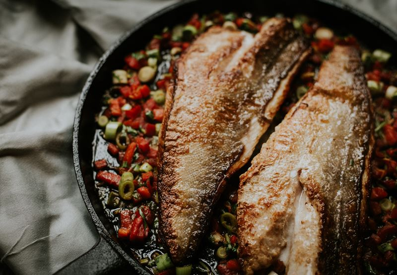 Gurnard with Roasted Red Pepper Relish