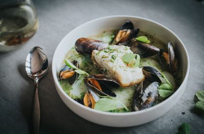 Mitch Tonks' Hake with Green Sauce & Mussels