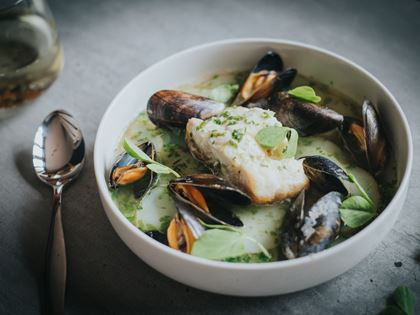 Mitch Tonks' Hake with Green Sauce & Mussels image
