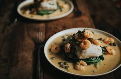 Hake with Prawns and Capers Recipe