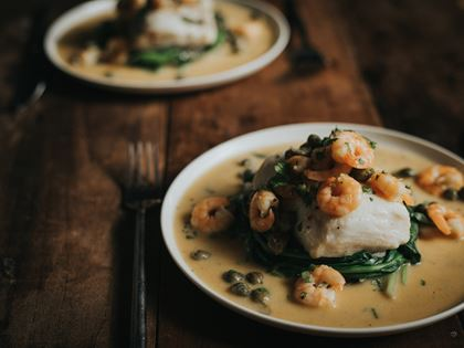 Hake with Prawns and Capers Recipe image