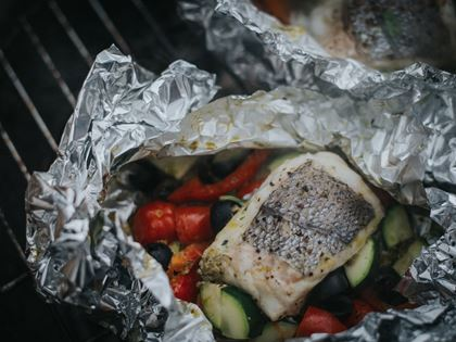 Barbecued Hake Pesto Parcels Recipe image
