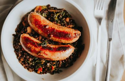 Puy Lentils with Sausages & Streaky Bacon