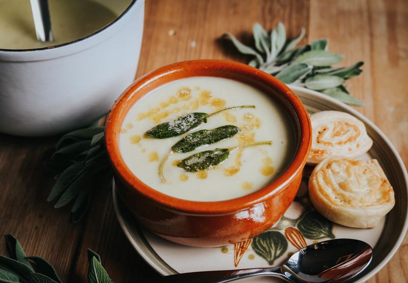 Cauliflower Soup with Crispy Sage Leaves