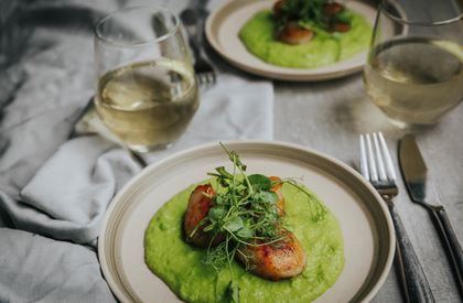 Scallops with Minted Peas Recipe